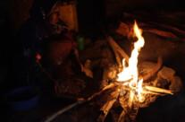 am Feuer in der Wohnung
