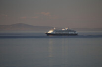 cruising ship steaming towards Alaska