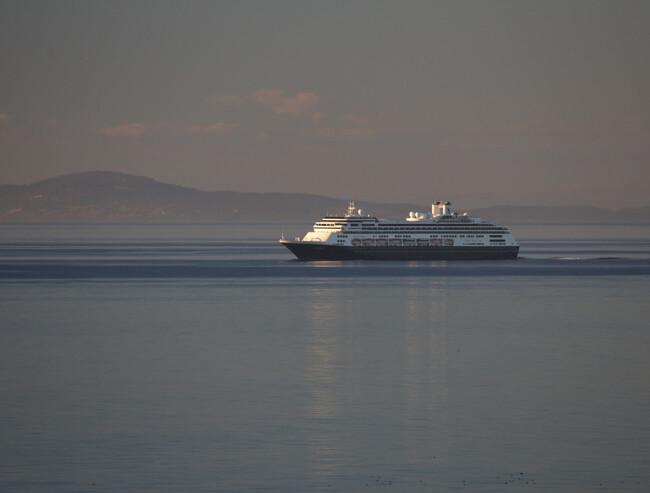 cruising ship steaming towards Alaska